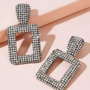 Zara Silver Rhinestone EngravedOpen Rectangle Drop
